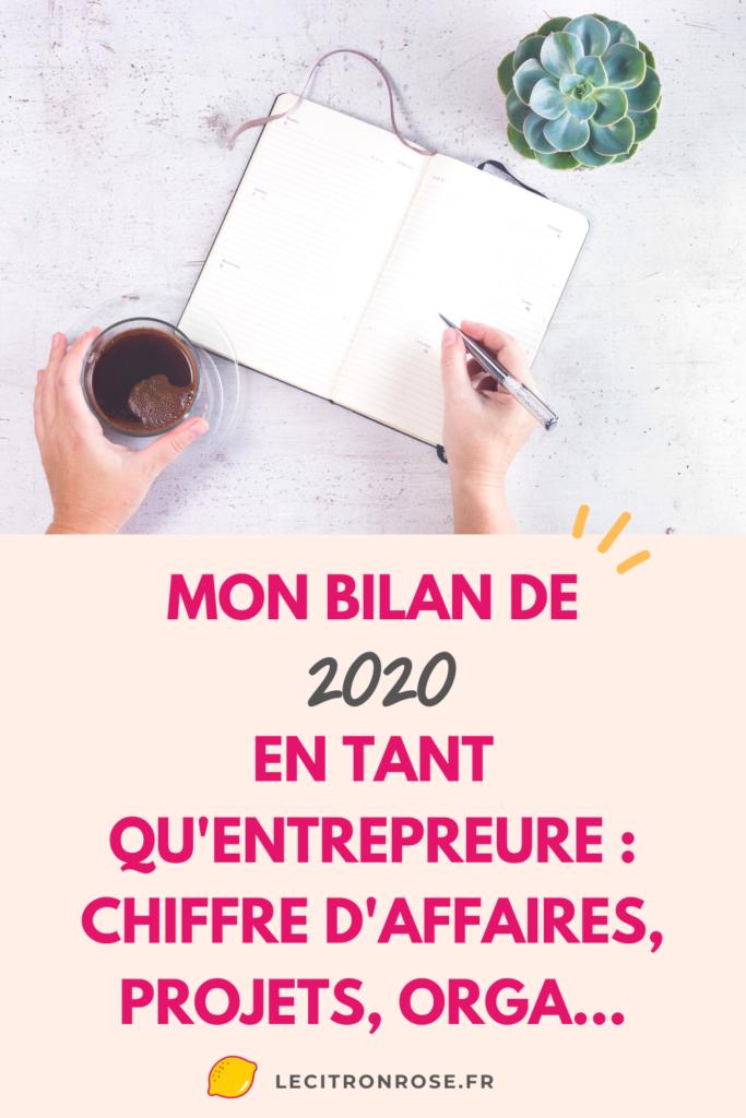 Mon bilan d'entrepreneure de 2020