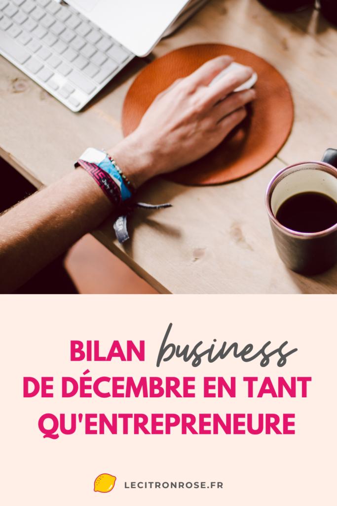Bilan d'entrepreneure de décembre 2020